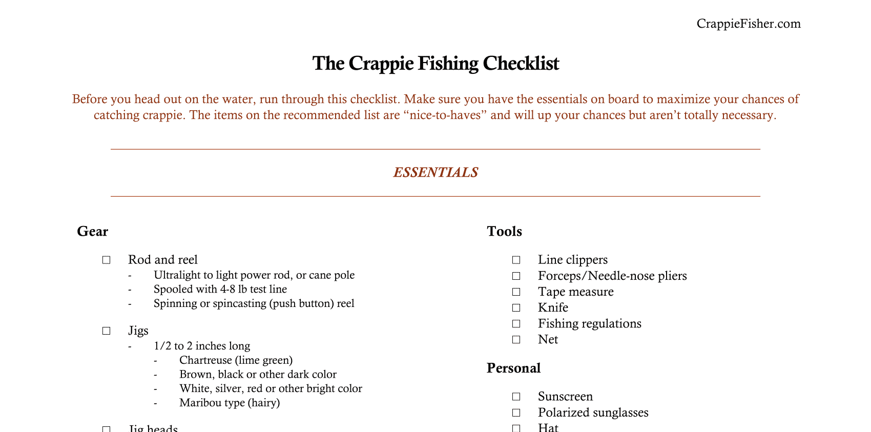 a checklist to run through before crappie fishing