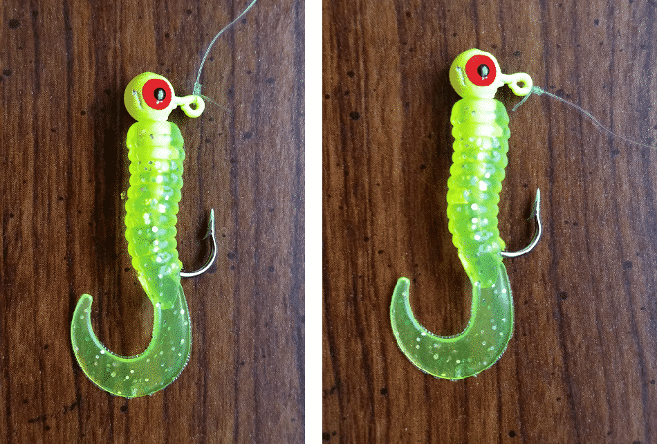 incorrect and correct jig head knot placement is important when jigging for crappie