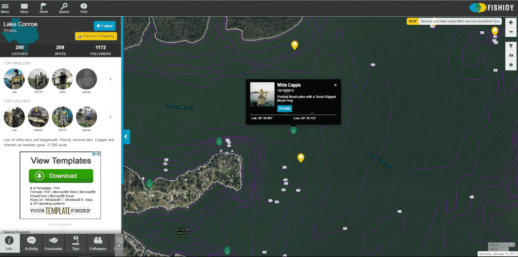 Free contour maps and catch locations fishidy review for Lake conroe fishing map
